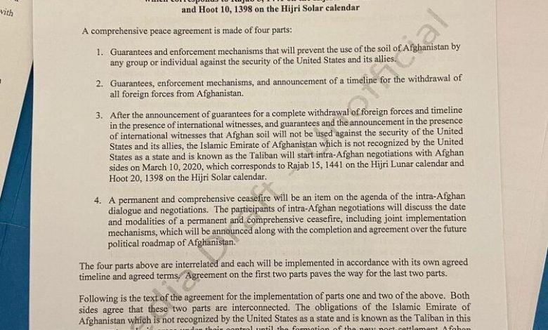 "Photo of ""طالبان"" وواشنطن توقعان على اتفاق سحب القوات الأجنبية من أفغانستان"
